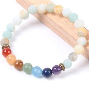 Jewelry - 7 Chakras Frosted Amazonite Mala Bracelet